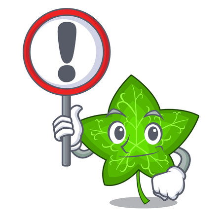 With sign ivy leaf isolated on character cartoon vector illustration