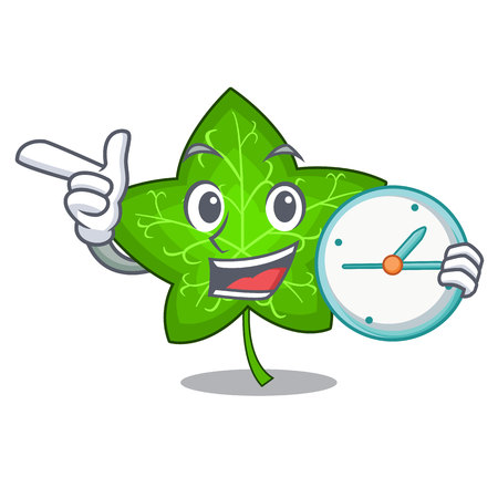 With clock green ivy leaf on character cartoon vector illustration 일러스트