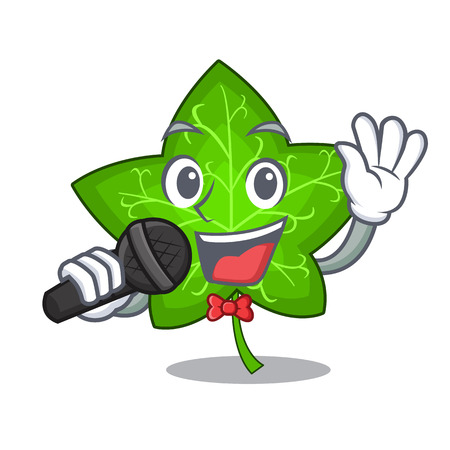 Singing fresh green ivy leaf mascot cartoon vector illustration Illustration