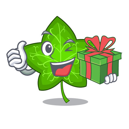 With gift fresh green ivy leaf mascot cartoon vector illustration