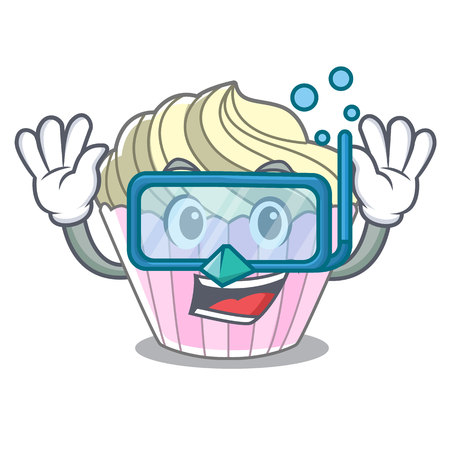 Diving homemade meringue cake on character cartoon vector illustration Çizim