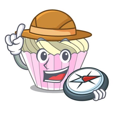 Explorer dessert meringue cake isolated mascot cartoon vector illustration