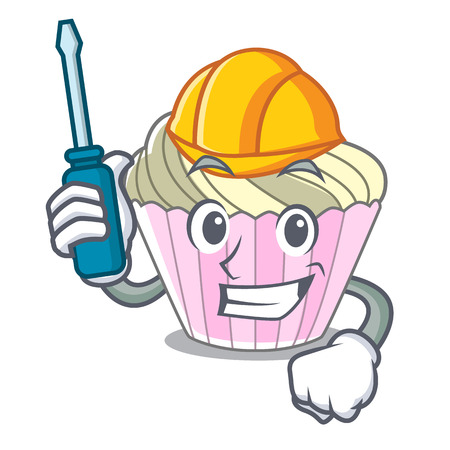 Automotive yummy meringue cake on mascot cartoon vector illustration