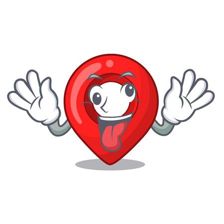 Crazy map marker navigation pin mascot cartoon Vektorové ilustrace