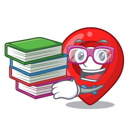Student with book map marker navigation pin mascot cartoon vector illustration
