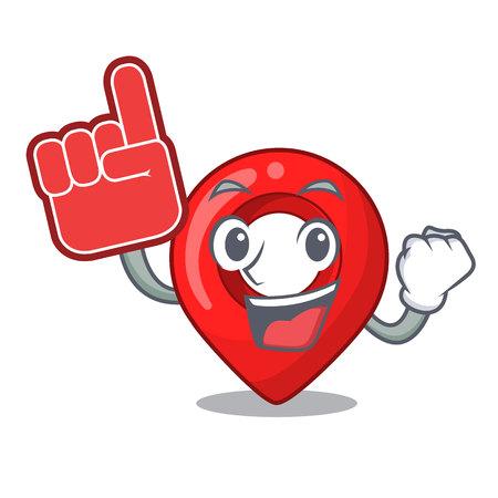 Foam finger map marker navigation pin mascot cartoon vector illustration