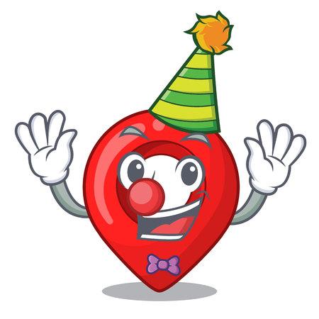 Clown map marker navigation pin mascot cartoon vector illustration Illustration