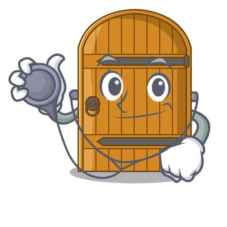 Doctor cartoon wooden door massive closed gate vector illustration