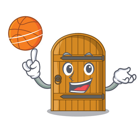With basketball cartoon wooden door massive closed gate vector illustration