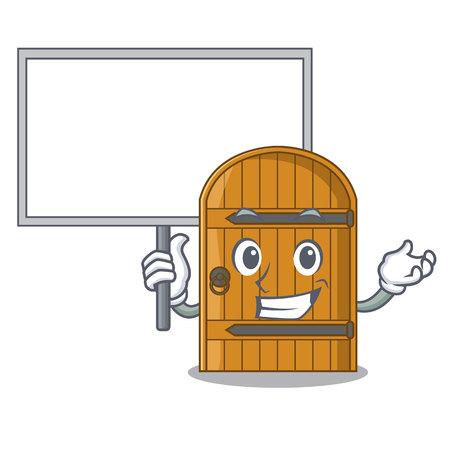 Bring board cartoon wooden door massive closed gate vector illustration Vecteurs