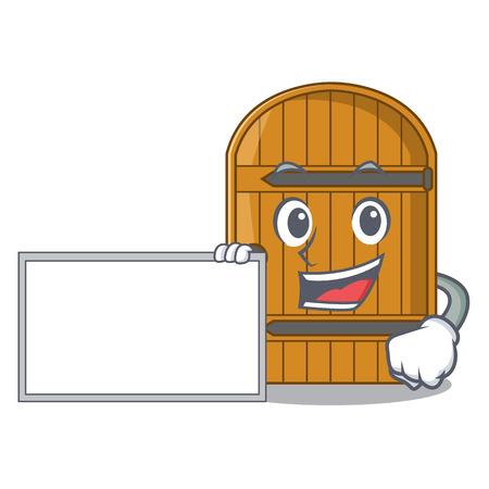 With board cartoon wooden door massive closed gate vector illustration