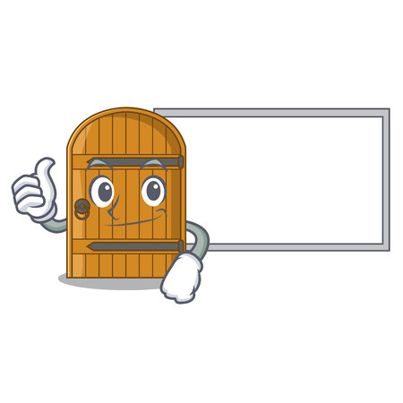 Thumbs up with board cartoon wooden door massive closed gate vector illustration