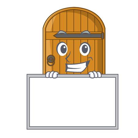 Sourire avec planche de dessin animé porte en bois massive porte fermée illustration vectorielle