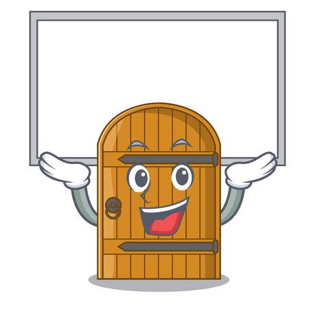 Up board cartoon porte en bois massive porte fermée illustration vectorielle