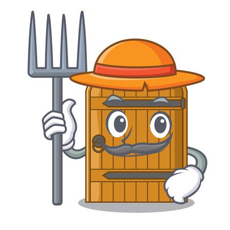 Farmer cartoon wooden door massive closed gate vector illustration