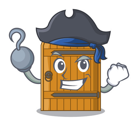 Pirate cartoon wooden door massive closed gate vector illustration Çizim