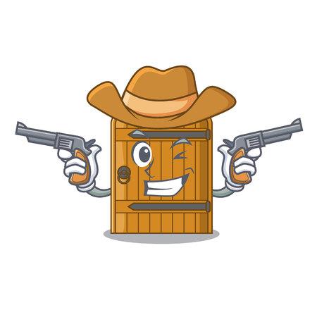Cowboy cartoon wooden door massive closed gate vector illustration