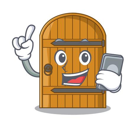 Avec téléphone dessin animé porte en bois massive porte fermée illustration vectorielle