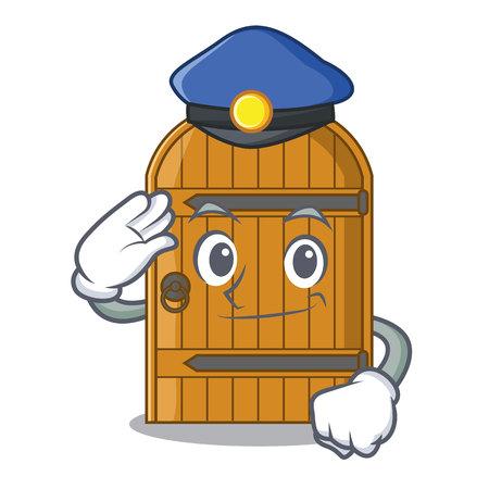 Police cartoon wooden door massive closed gate vector illustration