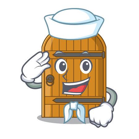 Sailor cartoon wooden door massive closed gate vector illustration