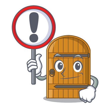 With sign cartoon wooden door massive closed gate vector illustration