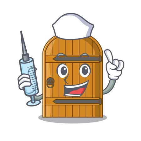 Nurse wooden door isolated on character cartoon vector illustration