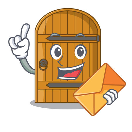 With envelope wooden door isolated on character cartoon vector illustration