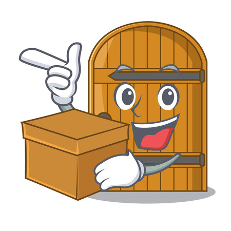 With box wooden door isolated on character cartoon vector illustration