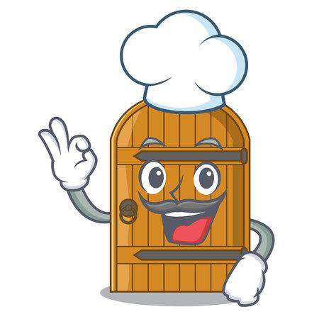 Chef wooden door isolated on character cartoon vector illustration