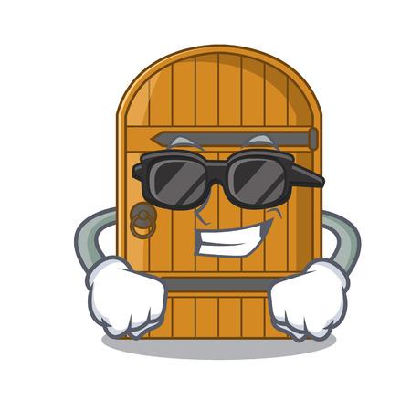 Super cool wooden door isolated on character cartoon vector illustration