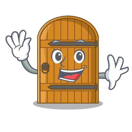 Waving wooden door isolated on character cartoon vector illustration