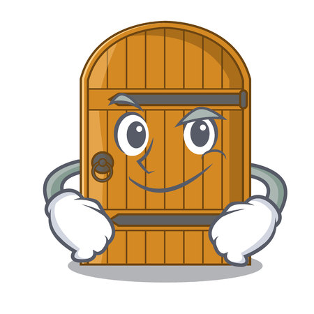 Smirking wooden door isolated on character cartoon vector illustration