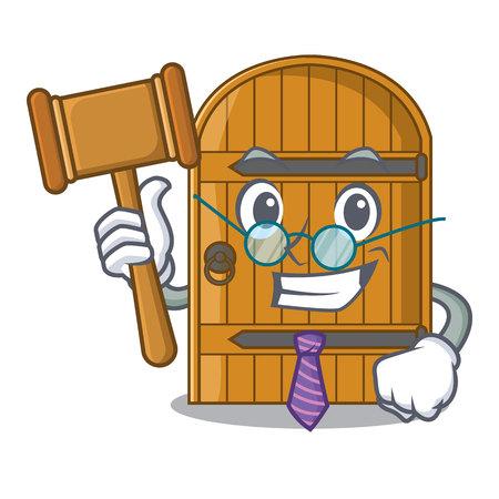 Judge vintage wooden door on mascot cartoon vector illustration Illustration