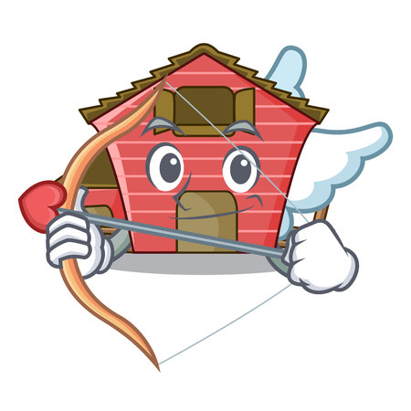 Cupid character red barn building with haystack vector illustration
