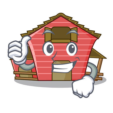 Thumbs up a red barn house character cartoon