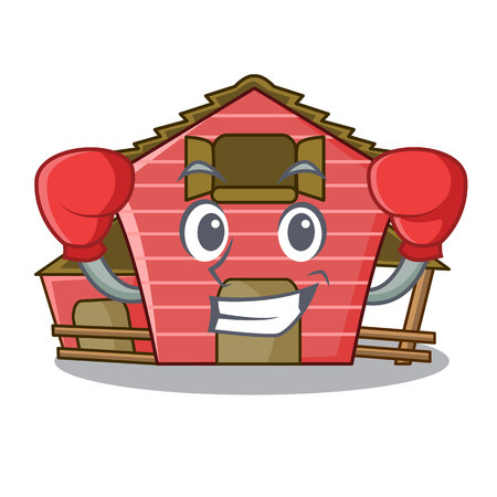 Boxing character red barn building with haystack vector illustration