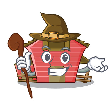 Witch spring day with a red barn cartoon vector illustration 向量圖像