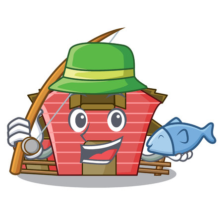 Fishing spring day with a red barn cartoon vector illustration