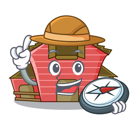Explorer spring day with a red barn cartoon vector illustration