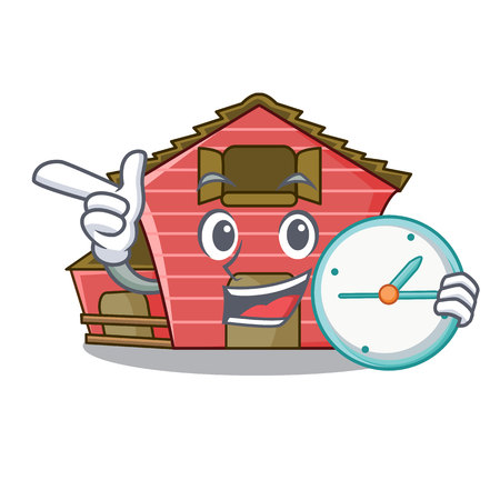 With clock a red barn house character cartoon vector illustration