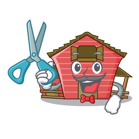 Barber character red barn building with haystack vector illustration
