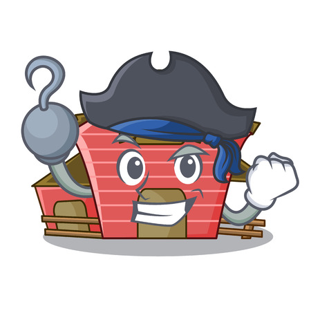 Pirate character red barn building with haystack vector illustration