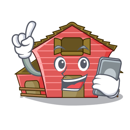 With phone character red barn building with haystack vector illustration