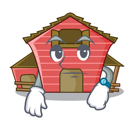 Waiting red storage barn isolated on mascot vector illustration