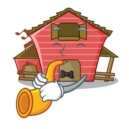 With trumpet spring day with a red barn cartoon vector illustration