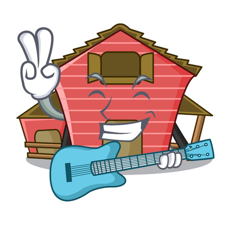 With guitar spring day with a red barn cartoon vector illustration