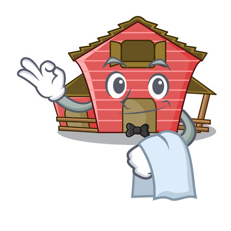 Waiter spring day with a red barn cartoon vector illustration