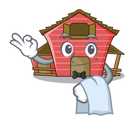 Waiter spring day with a red barn cartoon vector illustration Zdjęcie Seryjne - 107219339