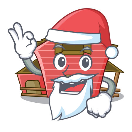 Santa red storage barn isolated on mascot vector illustration
