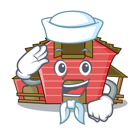 Sailor character red barn building with haystack vector illustration